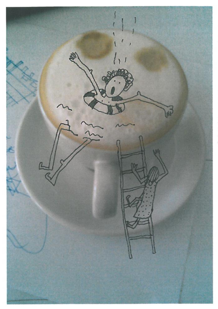 utopeny kocur v kave